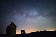 Milky Way Over Wheal Coates Tin Mine, St Agnes, Cornwall, England, Europe