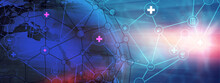 Abstract Worldwide Health Care Background With Futuristic Medical Technology Concept