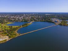 Watchemoket Cove And Bay Bike Path At Providence River Aerial View Near Narragansett Bay In East Providence, Rhode Island RI, USA.