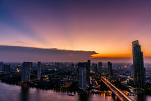 View Cityscape Of Business Downtown District At Sunet, Bangkok, Thailand