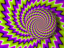 Green Pink And Purple Growing Sphere. Optical Expansion Illusion.