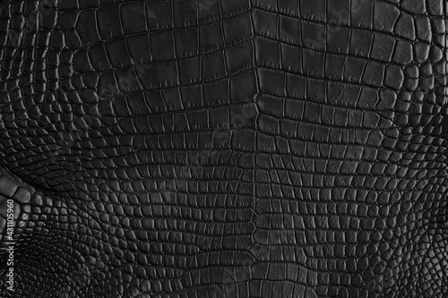 Abstract background of seamless crocodile black leather texture Fotobehang