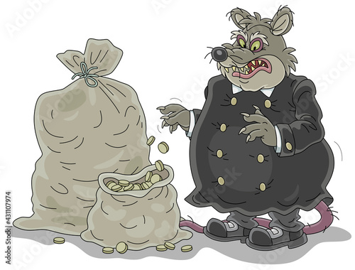 Obraz na płótnie Spiteful and greedy of gain fat old rat tax collector with a shabby tail and big