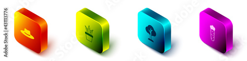 Set Isometric Gardener worker hat, Plant in pot, Forest and Carrot icon. Vector - fototapety na wymiar