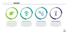 Set Garden Hose, Bird House, Kite And Gardening Handmade Scissors. Business Infographic Template. Vector