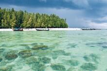 Long Tailed Boats On The Beach Of Poda Island, Thailand