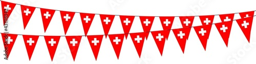Fototapeta Garlands in the colors of Switzerland on a white background