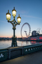 London Eye Seen From The Westminster Bridge In London