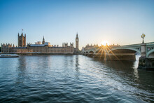 London Skyline With Palace Of Westminster And Big Ben At Sunset