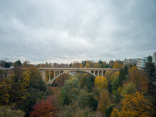 Beautiful Shot Of Adolphe Bridge In Luxembourg Under The Gloomy Sky
