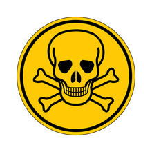 Poison Caution Icon Vector Design Template Isolated On Background. Toxic Hazard Sign. Vector Illustration Of Yellow Circular Warning Sign With Skull And Crossbones Inside. Attention. Danger Zone.