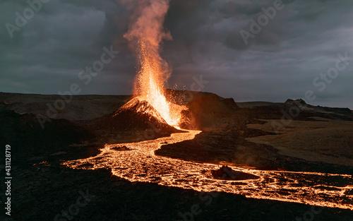 Fotografie, Tablou Exploding lava in the  erupting volcano in Iceland.