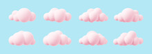 Pink 3d Clouds Set Isolated On A Blue Background. Render Magic Sunset Clouds Icon In The Blue Sky. 3d Geometric Shapes Vector Illustration