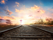 Heaven Road Concept: Railway A Way Walking Towards A Cross