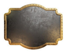 Empty Metal Plate With Brass Border. Steampunk Style. Clipping Path Included. 3d Illustration