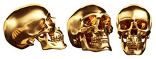 Golden Skulls Set, Isolated With Clipping Path. 3d Illustration