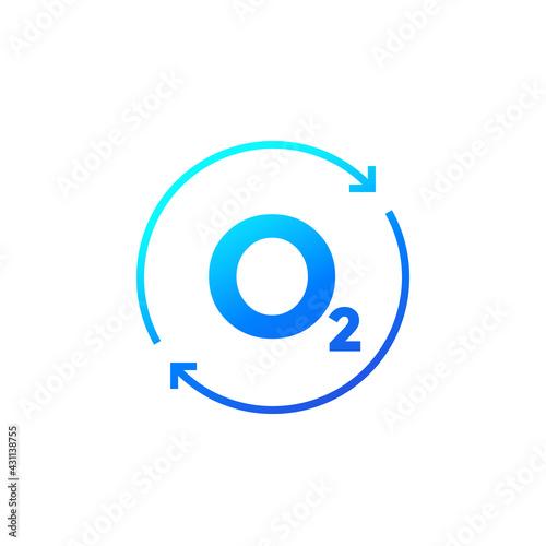 Fotografia oxygen icon with arrows, vector design