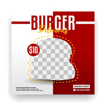 Social Media Templates For A Burger Restaurant. Promotional Media For Fast Food Menus.