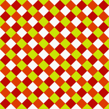 Seamless Citrus Color Rhombuses. Vector And Diagonal Squares In Red, Orange And Yellow Colors.