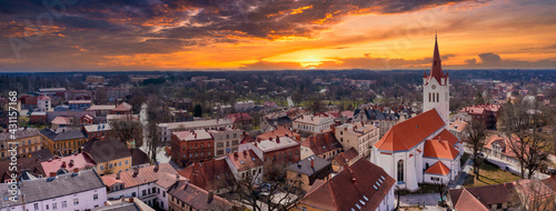 Valokuva Drone aerial view of medieval old city