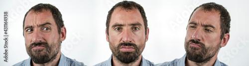 Fotografie, Obraz Portrait of angry insane man isolated on white background