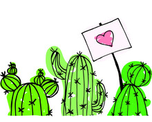 Vector Illustration With Green Cacti With Love Isolated