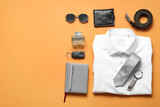 Fototapeta Kawa jest smaczna - Stylish male clothes and accessories on color background