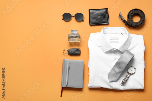 Stylish male clothes and accessories on color background - fototapety na wymiar
