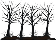 Silhouettes Of Trees Coloring Page