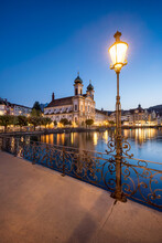 Jesuitenkirche (Jesuit Church) At Night, Lucerne, Switzerland