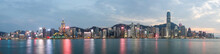 Magnificent Night View Of Skyline Panorama From Across Victoria Harbor, Hong Kong Island, China