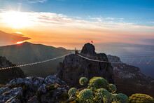 View From The Ai-Petri Rock To The Crimea, The Black Sea And The Surrounding Mountains At Dawn. Russia