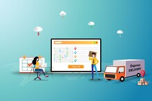 Business Concept Of Delivery Tracking, Team Of Logistics Are Working To Track The Shipment To Deliver The Goods To Customer In Front Of A Big Screen Of Laptop That Contain Map And GPS.
