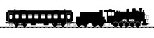 Retro Tourist Train With Steam Locomotive. Flat Vector Illustration Isolated On White