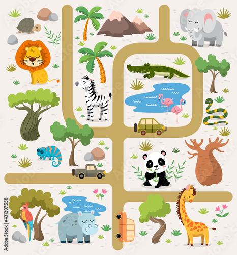 Fototapeta premium Tropical maze with animals in safari park