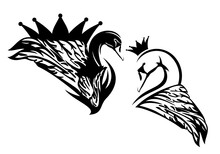 Elegant Princess Swan Bird Profile Head With Bent Neck, Wing And Royal Crown Black And White Vector Design Set
