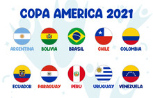 Copa America 2021 Final Stage Team Football Tournament In South America. South American Soccer Tournament In Argentina And Colombia.