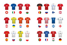 European Football Tournament 2020. Set Of National T-shirts And Flags Of Football Teams Euro 2020 On White Backround.