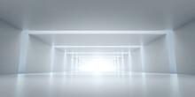 Abstract Futuristic Tunnel. Sci-fi Long Light Corridor Concept.  Empty Modern Future White Background. 3d Rendering
