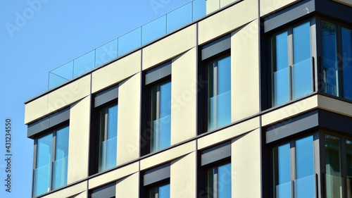 New modern architectural building house. Modern   facade of the apartment building. - fototapety na wymiar