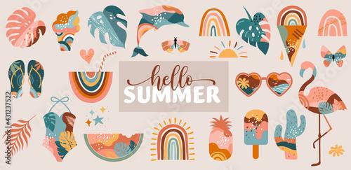 Bohemian Summer, modern summer illustrations and design of rainbow, flamingo, pineapple, ice cream and watermelon  - fototapety na wymiar