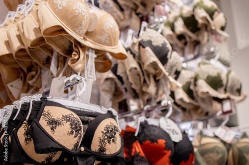 Fotografie, Obraz Female Woman Bra Brassiere On Hanger In Store Of Shopping Center.