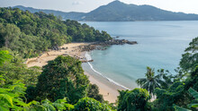 Amazing Picturesque View Of Andaman Sea In Phuket Island Thailand.Nature View Through The Jungle On The Beautiful Bay And Mountains In Tropical Island Located At Beach Laem Sing Beach