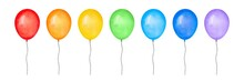 Watercolor Collection Of Colorful Party Balloons Of Rainbow Colors: Red, Yellow, Orange, Green, Light Blue And Violet. Hand Painted Water Color Graphic Drawing, Cut Out Clipart Elements For Design.