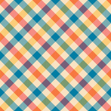 Plaid Pattern Seamless For Tablecloth In Blue, Red, Yellow, Beige. Gingham Textured Tartan Check Graphic For Gift Paper, Picnic Blanket, Other Trendy Spring Summer Autumn Fashion Textile Print.