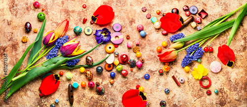 Fotografering Set of colored beads,jewelry making