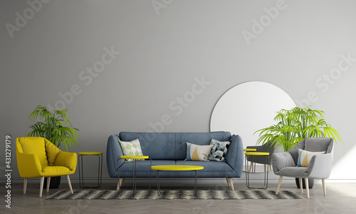 Fotografie, Obraz The decoration and cozy mock up interior design of living room and empty wall pa
