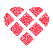 Heart Shape Made With Square Blocks And Circle Segments With Red Scribble Effect Fill, Geometric Vector Illustration
