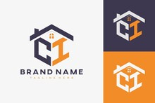 Hexagon CI House Monogram Logo For Real Estate, Property, Construction Business Identity. Box Shaped Home Initiral With Fav Icons Vector Graphic Template