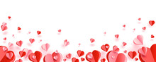 Paper Cut Hearts. Red And Pink Hearts In Paper Cut Styles. Flying Hearts On White Background. Background With Hearts For Valentine's Day, Birthday, Wedding Day